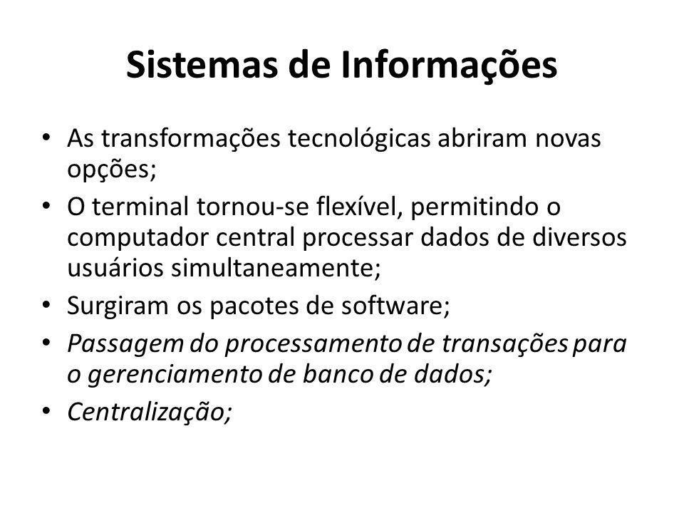 Sistemas de Informações As transformações tecnológicas abriram novas opções; O terminal tornou-se flexível, permitindo o computador central processar dados de diversos usuários simultaneamente; Surgiram os pacotes de software; Passagem do processamento de transações para o gerenciamento de banco de dados; Centralização;
