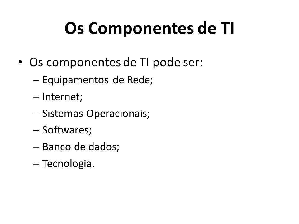 Os Componentes de TI Os componentes de TI pode ser: – Equipamentos de Rede; – Internet; – Sistemas Operacionais; – Softwares; – Banco de dados; – Tecnologia.