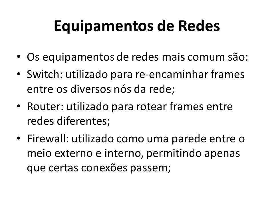 Equipamentos de Redes Os equipamentos de redes mais comum são: Switch: utilizado para re-encaminhar frames entre os diversos nós da rede; Router: utilizado para rotear frames entre redes diferentes; Firewall: utilizado como uma parede entre o meio externo e interno, permitindo apenas que certas conexões passem;