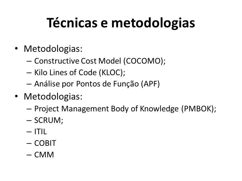 Técnicas e metodologias Metodologias: – Constructive Cost Model (COCOMO); – Kilo Lines of Code (KLOC); – Análise por Pontos de Função (APF) Metodologias: – Project Management Body of Knowledge (PMBOK); – SCRUM; – ITIL – COBIT – CMM