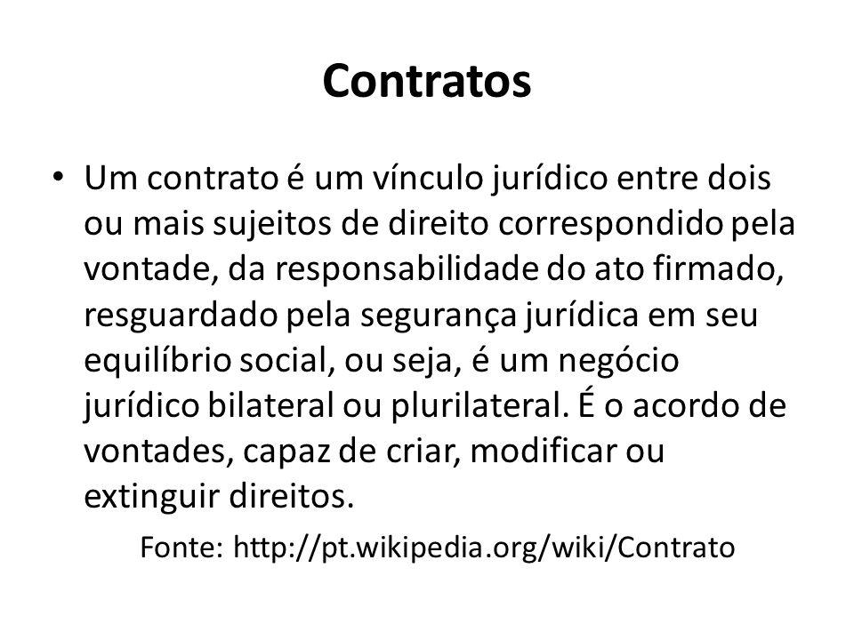 Contratos Um contrato é um vínculo jurídico entre dois ou mais sujeitos de direito correspondido pela vontade, da responsabilidade do ato firmado, resguardado pela segurança jurídica em seu equilíbrio social, ou seja, é um negócio jurídico bilateral ou plurilateral.