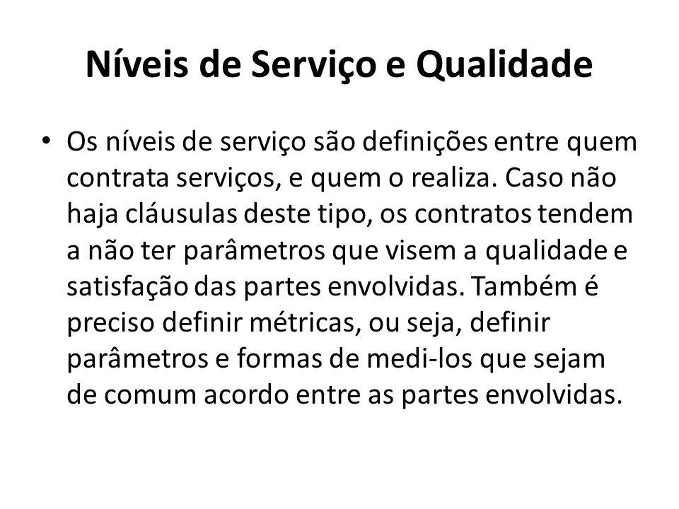 Níveis de Serviço e Qualidade Os níveis de serviço são definições entre quem contrata serviços, e quem o realiza.
