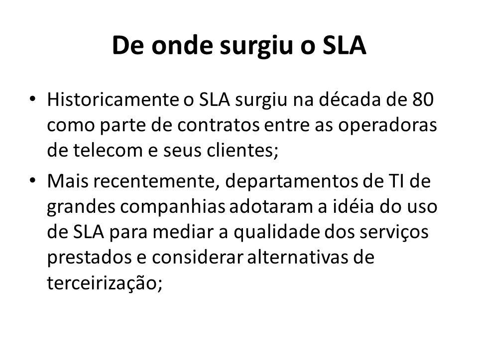 De onde surgiu o SLA Historicamente o SLA surgiu na década de 80 como parte de contratos entre as operadoras de telecom e seus clientes; Mais recentemente, departamentos de TI de grandes companhias adotaram a idéia do uso de SLA para mediar a qualidade dos serviços prestados e considerar alternativas de terceirização;