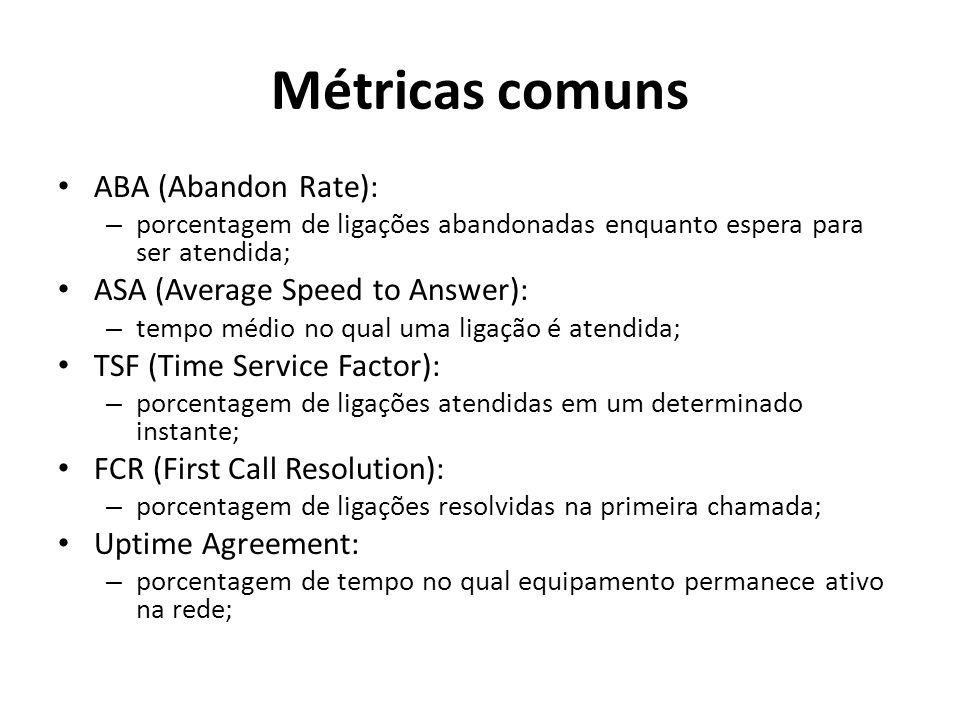 Métricas comuns ABA (Abandon Rate): – porcentagem de ligações abandonadas enquanto espera para ser atendida; ASA (Average Speed to Answer): – tempo médio no qual uma ligação é atendida; TSF (Time Service Factor): – porcentagem de ligações atendidas em um determinado instante; FCR (First Call Resolution): – porcentagem de ligações resolvidas na primeira chamada; Uptime Agreement: – porcentagem de tempo no qual equipamento permanece ativo na rede;