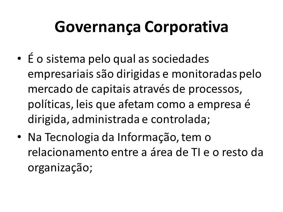 Governança Corporativa É o sistema pelo qual as sociedades empresariais são dirigidas e monitoradas pelo mercado de capitais através de processos, políticas, leis que afetam como a empresa é dirigida, administrada e controlada; Na Tecnologia da Informação, tem o relacionamento entre a área de TI e o resto da organização;