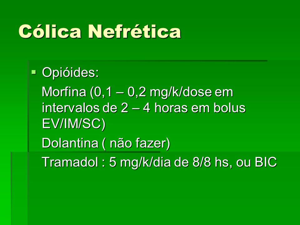 Cólica Nefrética  Opióides: Morfina (0,1 – 0,2 mg/k/dose em intervalos de 2 – 4 horas em bolus EV/IM/SC) Morfina (0,1 – 0,2 mg/k/dose em intervalos d