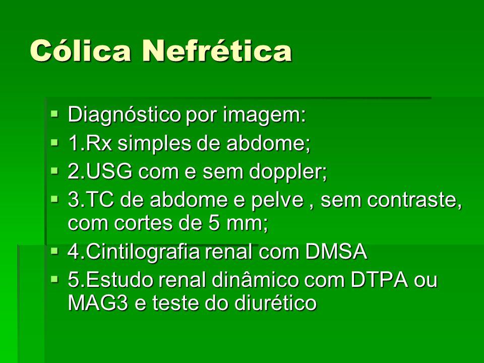 Cólica Nefrética  Diagnóstico por imagem:  1.Rx simples de abdome;  2.USG com e sem doppler;  3.TC de abdome e pelve, sem contraste, com cortes de