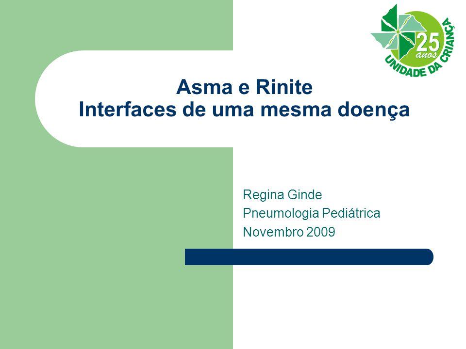 Asma e Rinite Interfaces de uma mesma doença Regina Ginde Pneumologia Pediátrica Novembro 2009