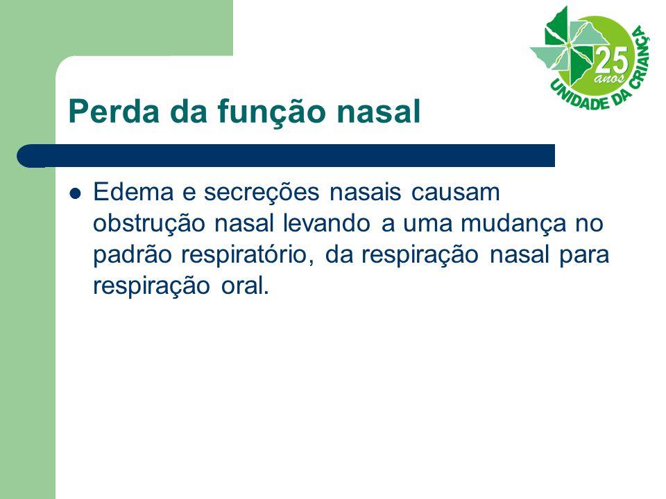 Perda da função nasal Edema e secreções nasais causam obstrução nasal levando a uma mudança no padrão respiratório, da respiração nasal para respiração oral.
