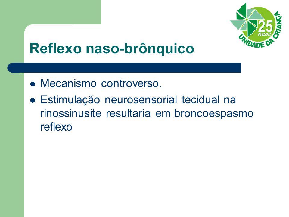 Reflexo naso-brônquico Mecanismo controverso. Estimulação neurosensorial tecidual na rinossinusite resultaria em broncoespasmo reflexo