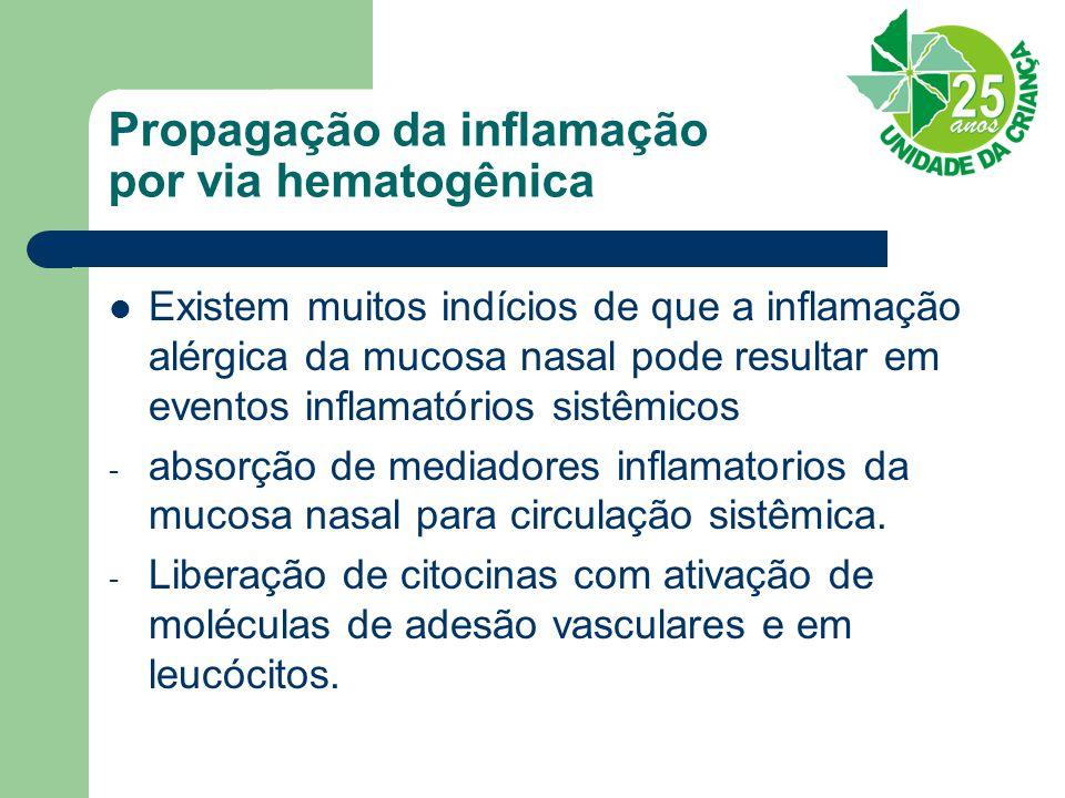 Propagação da inflamação por via hematogênica Existem muitos indícios de que a inflamação alérgica da mucosa nasal pode resultar em eventos inflamatórios sistêmicos - absorção de mediadores inflamatorios da mucosa nasal para circulação sistêmica.