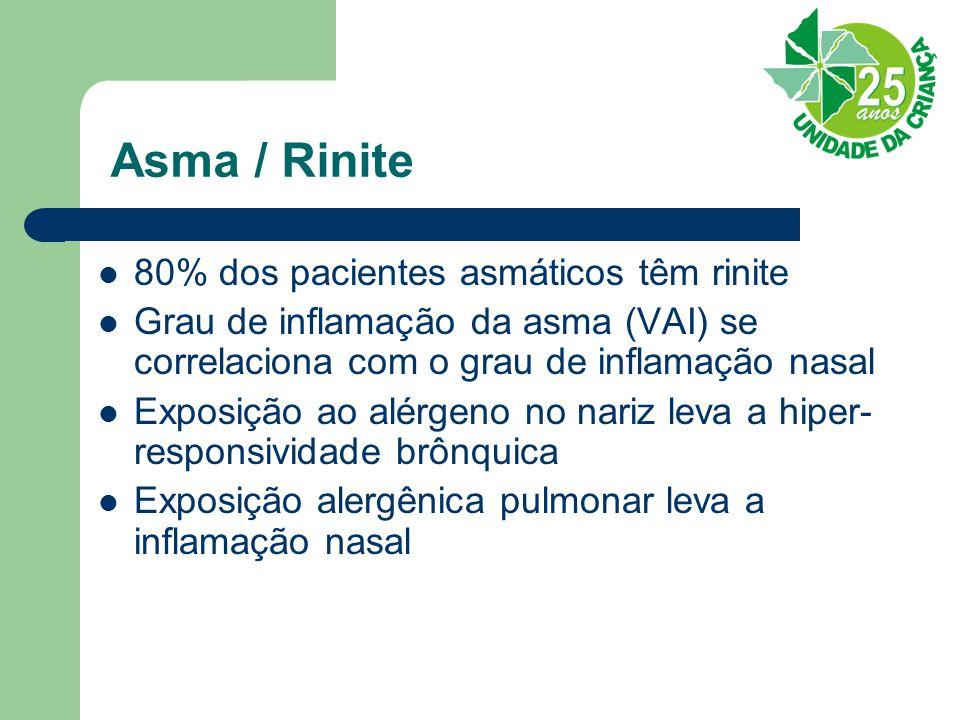 Asma / Rinite 80% dos pacientes asmáticos têm rinite Grau de inflamação da asma (VAI) se correlaciona com o grau de inflamação nasal Exposição ao alérgeno no nariz leva a hiper- responsividade brônquica Exposição alergênica pulmonar leva a inflamação nasal