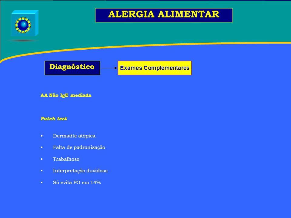 AA Não IgE mediada Patch test Dermatite atópica Falta de padronização Trabalhoso Interpretação duvidosa Só evita PO em 14% ALERGIA ALIMENTAR Diagnóstico Exames Complementares