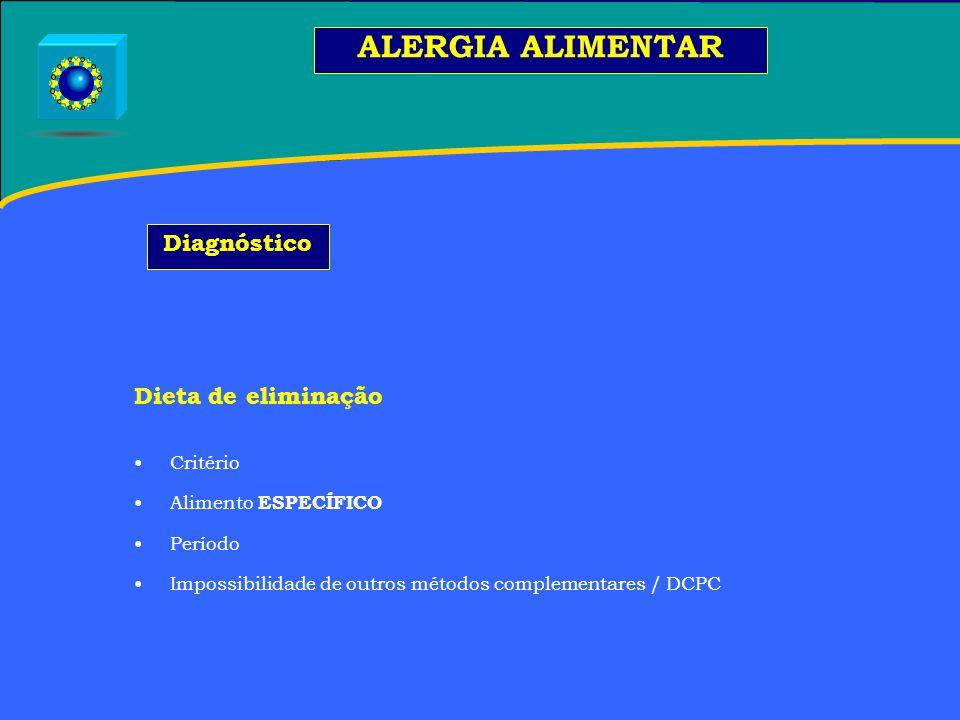 Dieta de eliminação Critério Alimento ESPECÍFICO Período Impossibilidade de outros métodos complementares / DCPC ALERGIA ALIMENTAR Diagnóstico