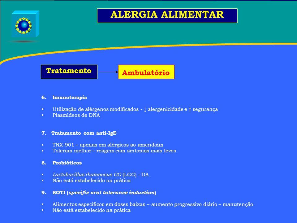 6.Imunoterapia Utilização de alérgenos modificados - ↓ alergenicidade e ↑ segurança Plasmídeos de DNA 7.