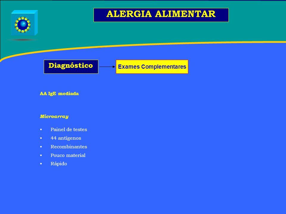 AA IgE mediada Microarray Painel de testes 44 antígenos Recombinantes Pouco material Rápido ALERGIA ALIMENTAR Diagnóstico Exames Complementares