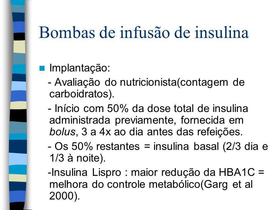 Bombas de infusão de insulina Implantação: - Avaliação do nutricionista(contagem de carboidratos).
