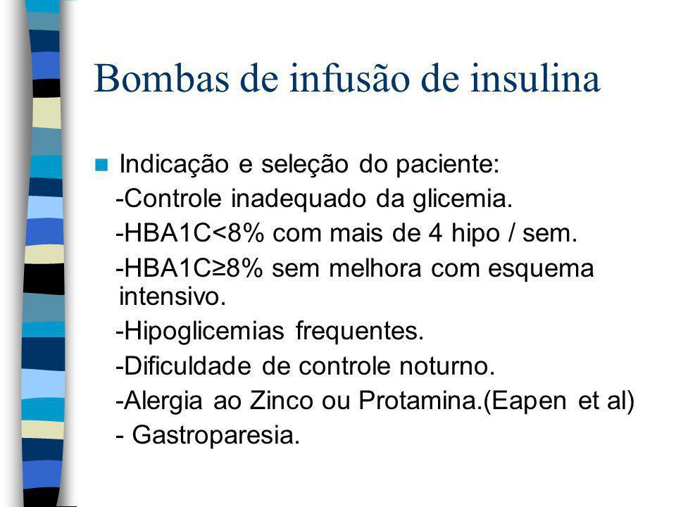 Bombas de infusão de insulina Indicação e seleção do paciente: -Controle inadequado da glicemia.