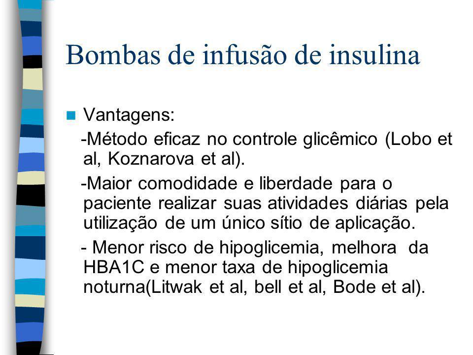 Bombas de infusão de insulina Vantagens: -Método eficaz no controle glicêmico (Lobo et al, Koznarova et al).