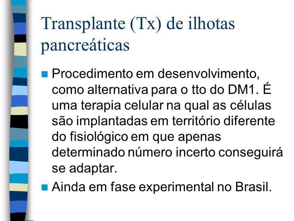 Transplante (Tx) de ilhotas pancreáticas Procedimento em desenvolvimento, como alternativa para o tto do DM1.