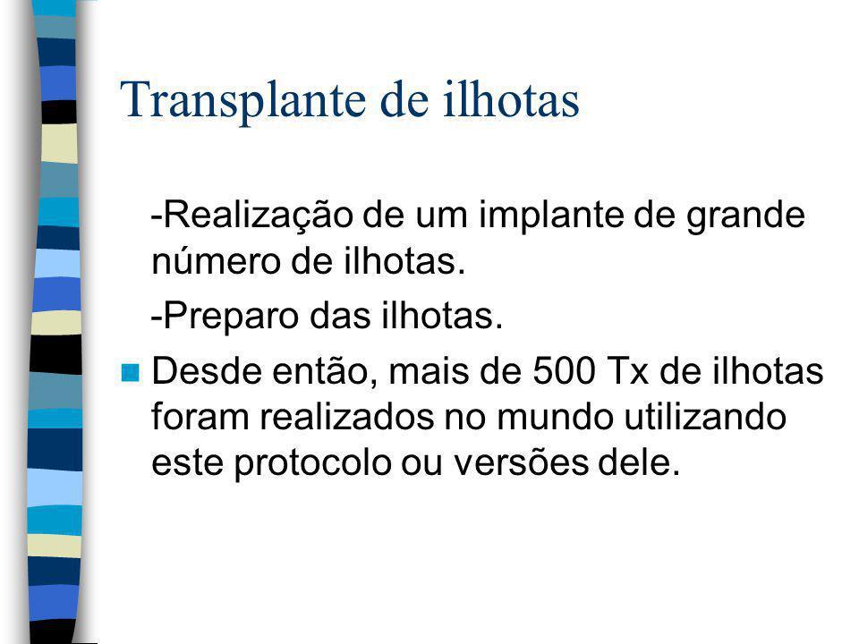 Transplante de ilhotas -Realização de um implante de grande número de ilhotas.