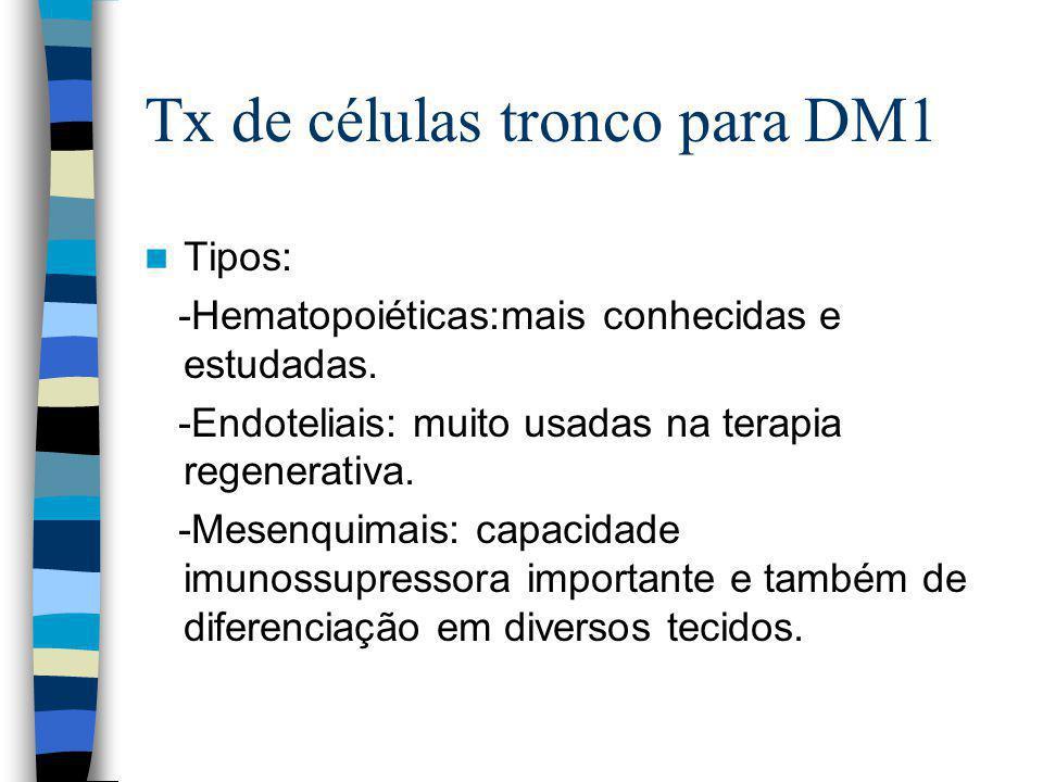 Tx de células tronco para DM1 Tipos: -Hematopoiéticas:mais conhecidas e estudadas.