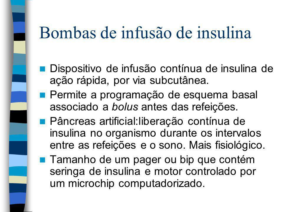 Bombas de infusão de insulina Dispositivo de infusão contínua de insulina de ação rápida, por via subcutânea.