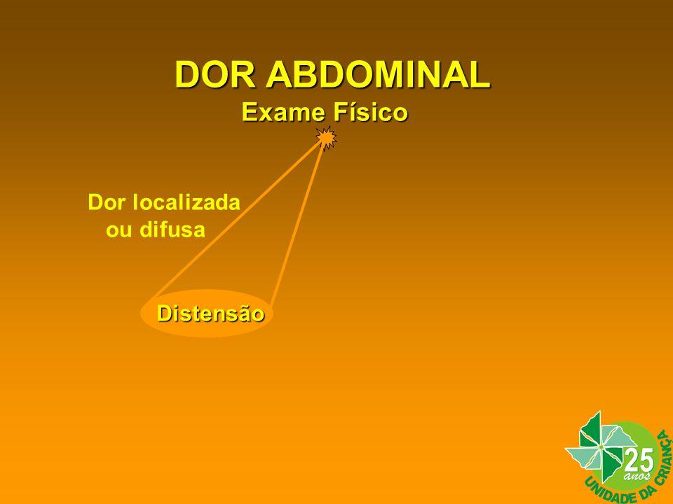 DOR ABDOMINAL Exame Físico Dor localizada ou difusa Distensão