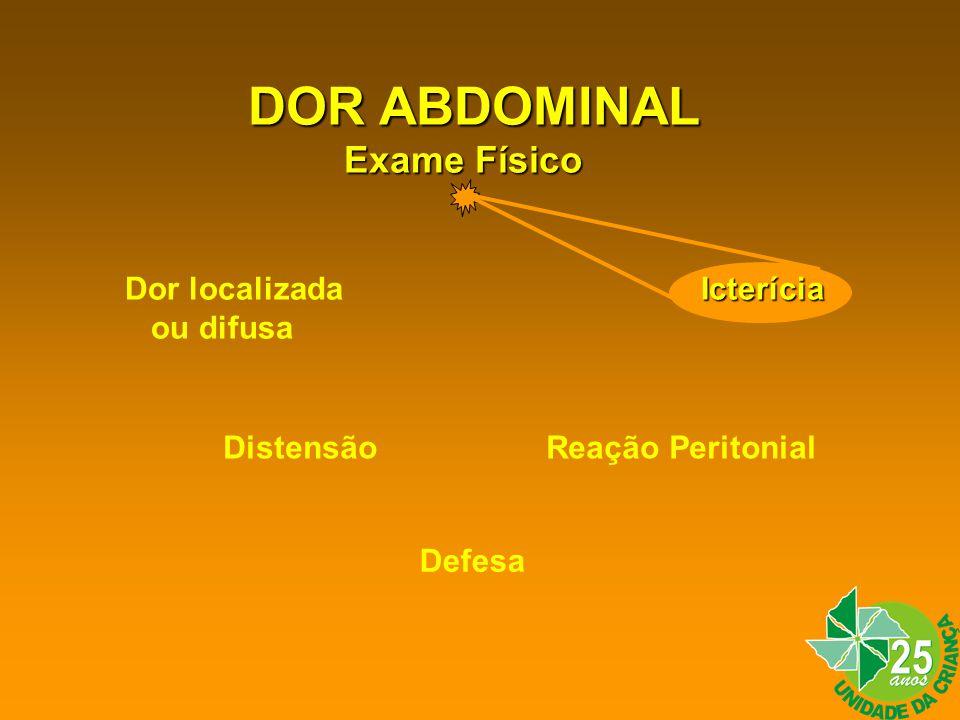 DOR ABDOMINAL Exame Físico Icterícia Dor localizadaIcterícia ou difusa Distensão Reação Peritonial Defesa