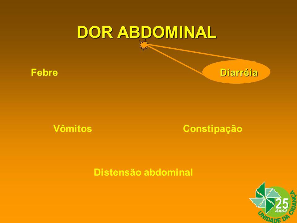 DOR ABDOMINAL Diarréia Febre Diarréia Vômitos Constipação Distensão abdominal