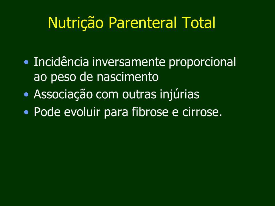 Nutrição Parenteral Total Incidência inversamente proporcional ao peso de nascimento Associação com outras injúrias Pode evoluir para fibrose e cirrose.