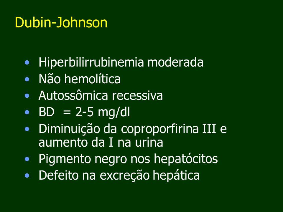 Dubin-Johnson Hiperbilirrubinemia moderada Não hemolítica Autossômica recessiva BD = 2-5 mg/dl Diminuição da coproporfirina III e aumento da I na urina Pigmento negro nos hepatócitos Defeito na excreção hepática