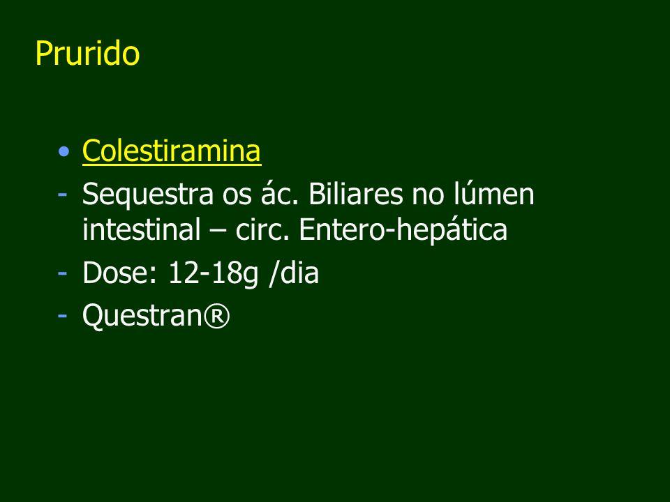 Prurido Colestiramina -Sequestra os ác.Biliares no lúmen intestinal – circ.