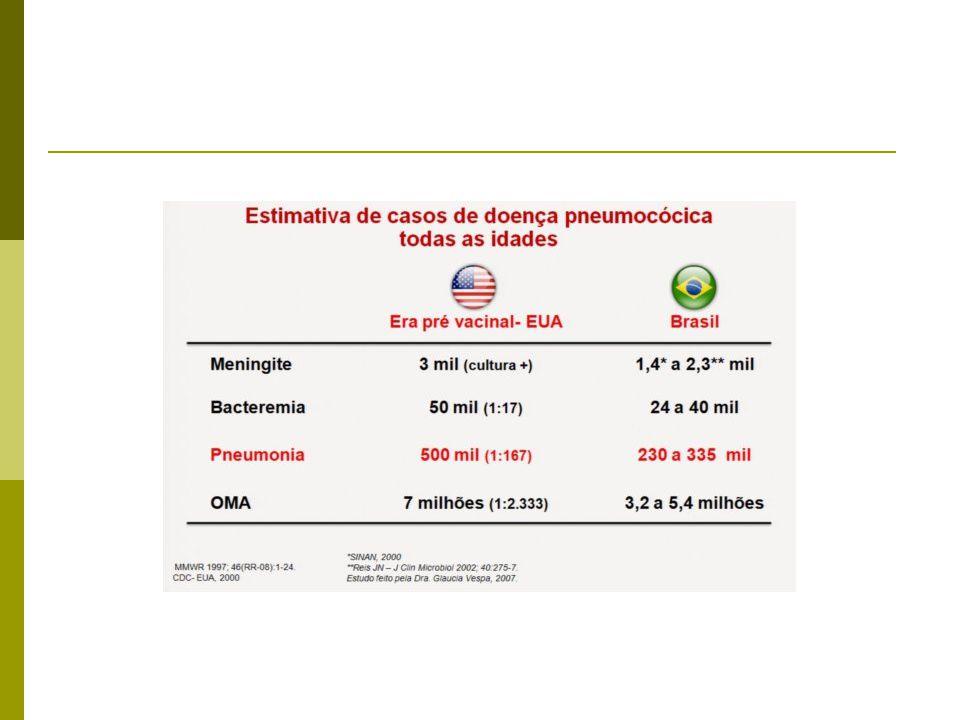 Sorotipos prevalentes de S. pneumoniae no Brasil 2000 – 2006 (2.380 cepas)