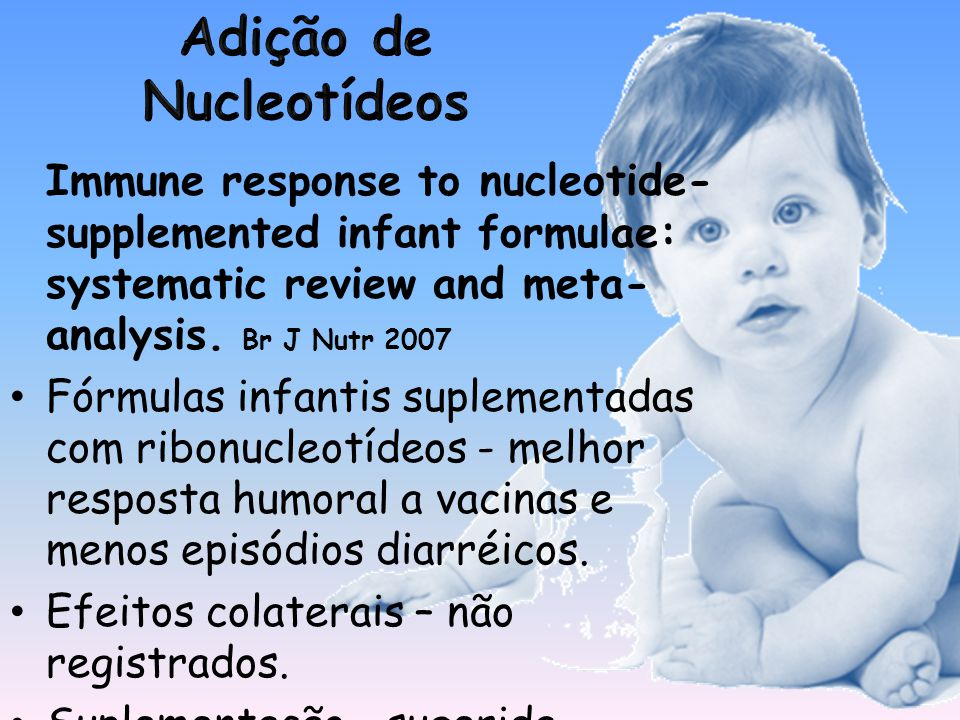 Immune response to nucleotide- supplemented infant formulae: systematic review and meta- analysis.