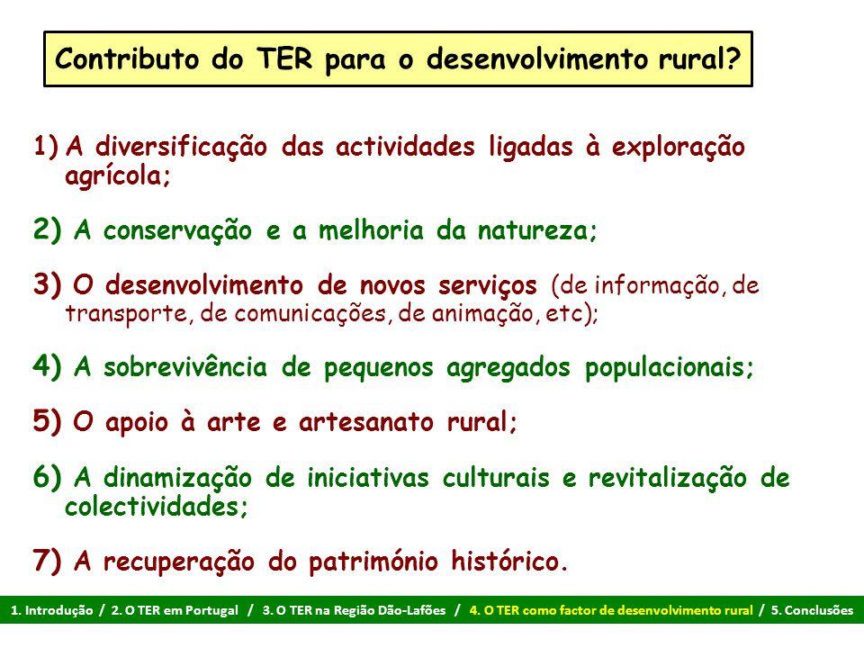 1)A diversificação das actividades ligadas à exploração agrícola; 2) A conservação e a melhoria da natureza; 3) O desenvolvimento de novos serviços (d