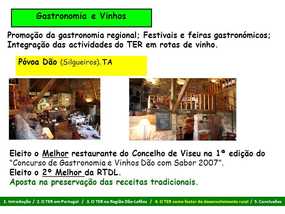 Gastronomia e Vinhos Promoção da gastronomia regional; Festivais e feiras gastronómicos; Integração das actividades do TER em rotas de vinho. Eleito o