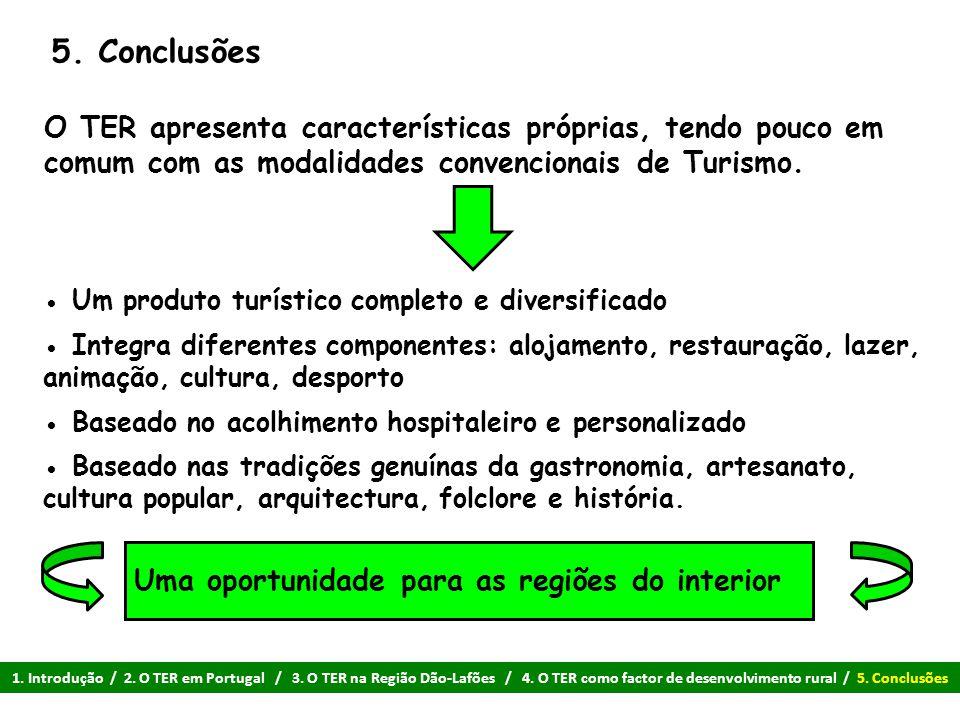 5. Conclusões O TER apresenta características próprias, tendo pouco em comum com as modalidades convencionais de Turismo. ● Um produto turístico compl