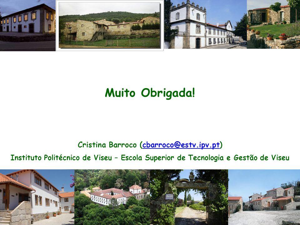 Muito Obrigada! Cristina Barroco (cbarroco@estv.ipv.pt)cbarroco@estv.ipv.pt Instituto Politécnico de Viseu – Escola Superior de Tecnologia e Gestão de
