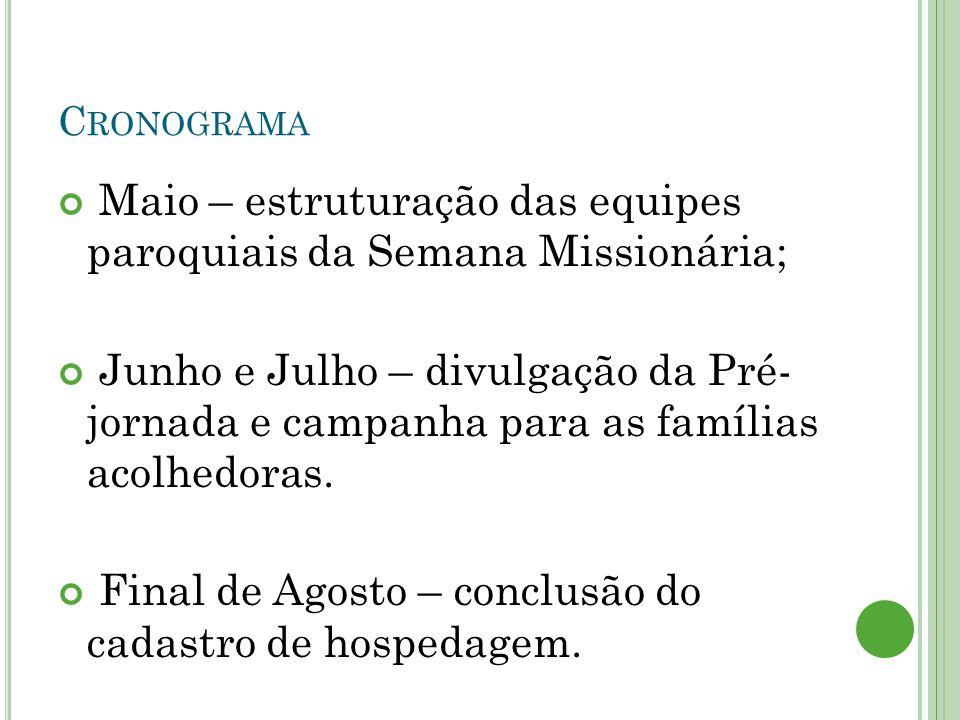 C RONOGRAMA Maio – estruturação das equipes paroquiais da Semana Missionária; Junho e Julho – divulgação da Pré- jornada e campanha para as famílias acolhedoras.