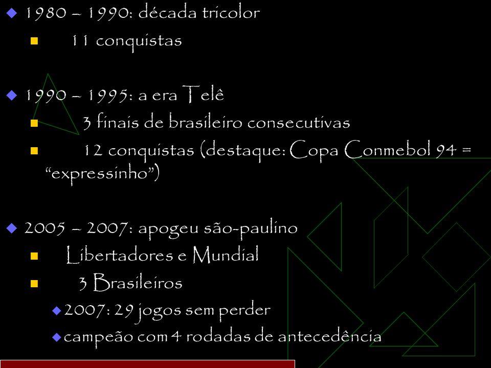  1980 – 1990: década tricolor 11 conquistas  1990 – 1995: a era Telê 3 finais de brasileiro consecutivas 12 conquistas (destaque: Copa Conmebol 94 = expressinho )  2005 – 2007: apogeu são-paulino Libertadores e Mundial 3 Brasileiros  2007: 29 jogos sem perder  campeão com 4 rodadas de antecedência