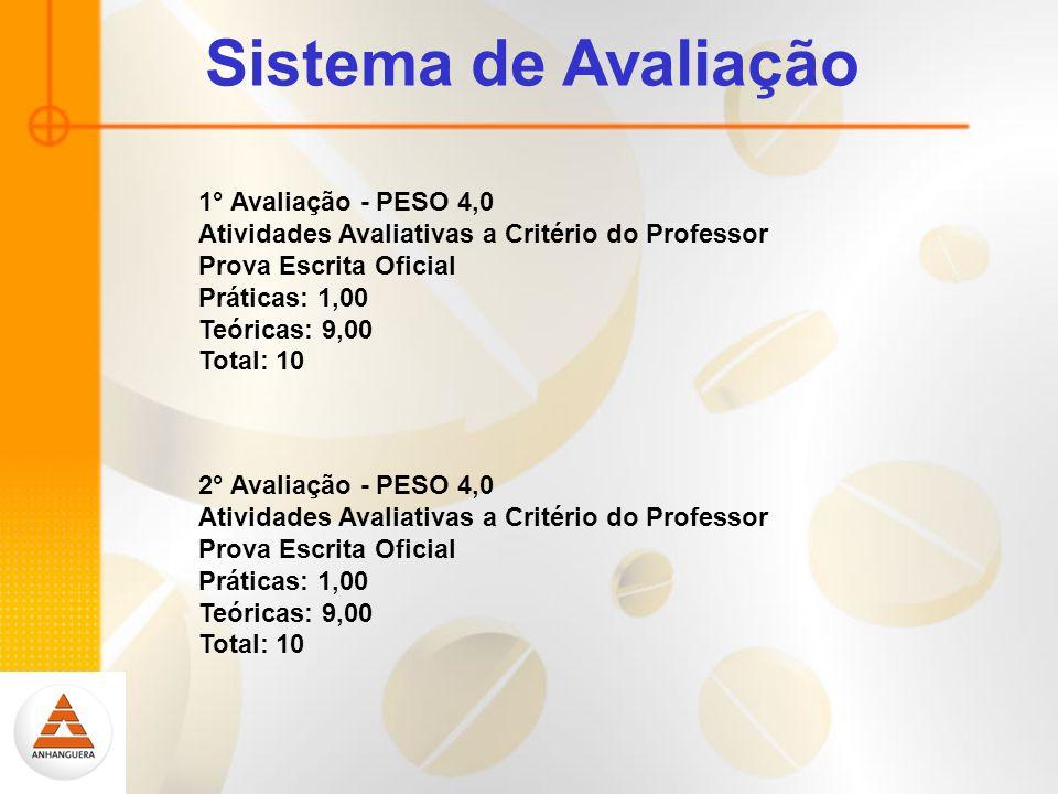 Sistema de Avaliação 1° Avaliação - PESO 4,0 Atividades Avaliativas a Critério do Professor Prova Escrita Oficial Práticas: 1,00 Teóricas: 9,00 Total: 10 2° Avaliação - PESO 4,0 Atividades Avaliativas a Critério do Professor Prova Escrita Oficial Práticas: 1,00 Teóricas: 9,00 Total: 10