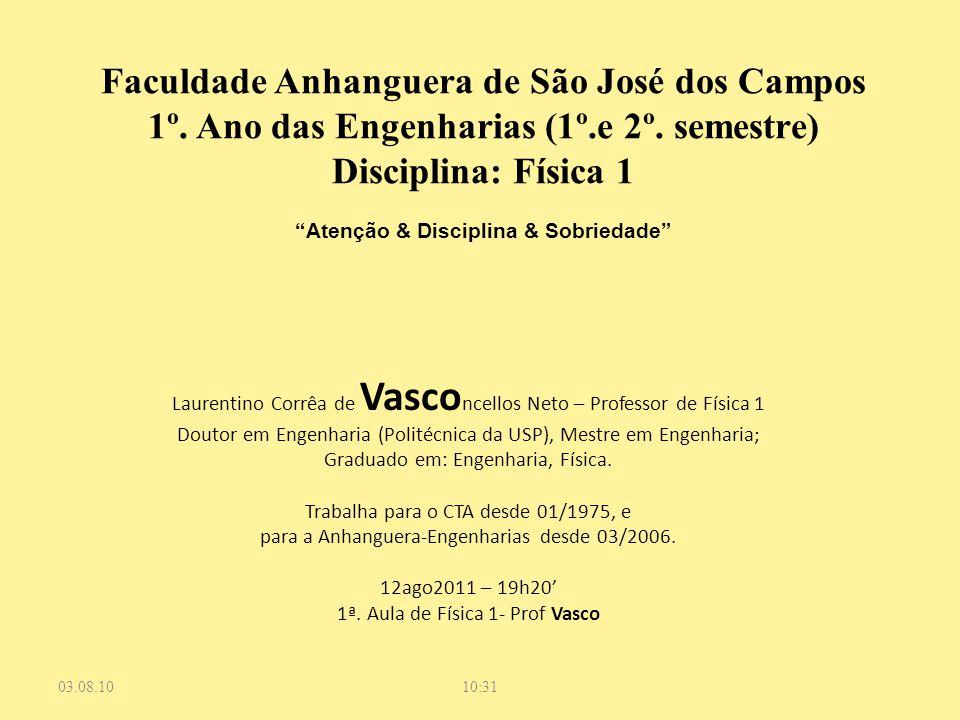 Laurentino Corrêa de Vasco ncellos Neto – Professor de Física 1 Doutor em Engenharia (Politécnica da USP), Mestre em Engenharia; Graduado em: Engenhar