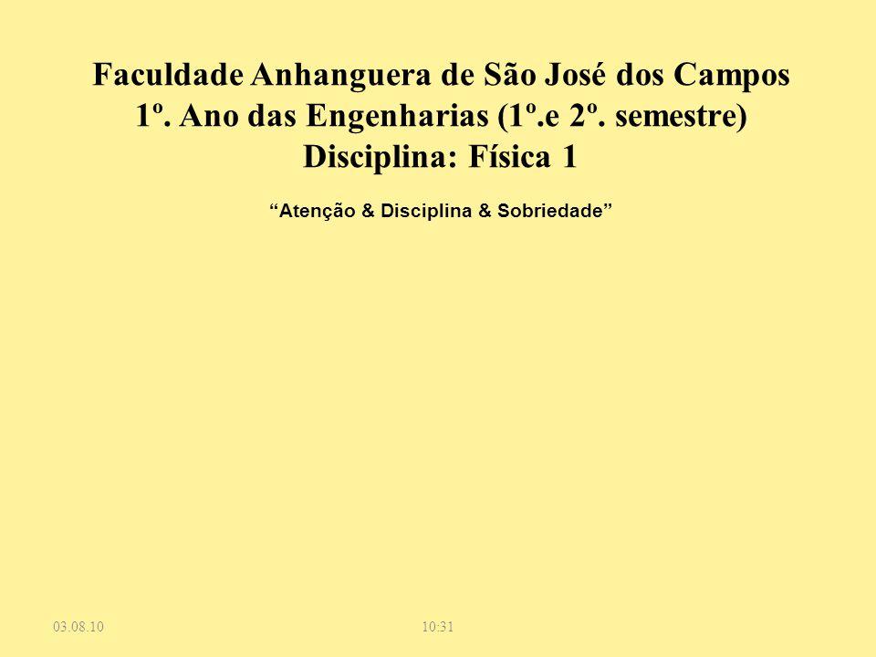 """03.08.1010:31 Faculdade Anhanguera de São José dos Campos 1º. Ano das Engenharias (1º.e 2º. semestre) Disciplina: Física 1 """"Atenção & Disciplina & Sob"""
