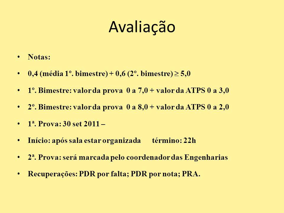 Avaliação Notas: 0,4 (média 1º. bimestre) + 0,6 (2º. bimestre)  5,0 1º. Bimestre: valor da prova 0 a 7,0 + valor da ATPS 0 a 3,0 2º. Bimestre: valor