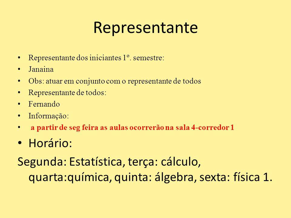 Representante Representante dos iniciantes 1º. semestre: Janaina Obs: atuar em conjunto com o representante de todos Representante de todos: Fernando