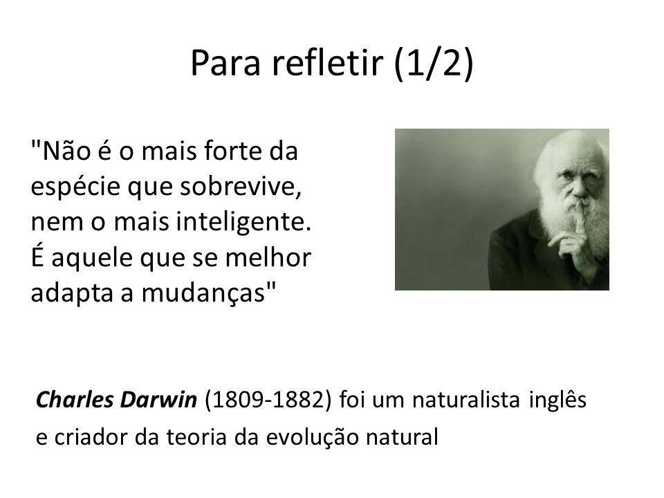 Para refletir (1/2) Charles Darwin (1809-1882) foi um naturalista inglês e criador da teoria da evolução natural