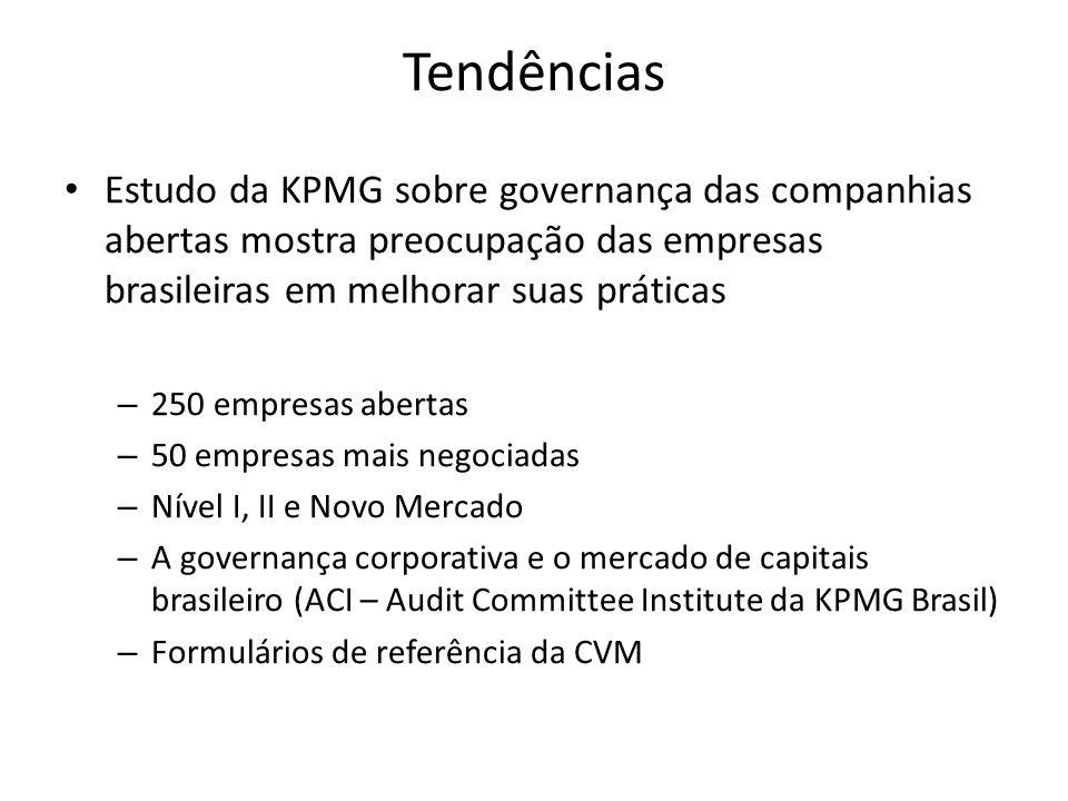 Tendências Estudo da KPMG sobre governança das companhias abertas mostra preocupação das empresas brasileiras em melhorar suas práticas – 250 empresas