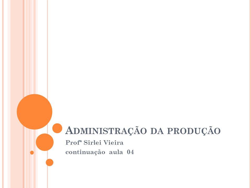 A DMINISTRAÇÃO DA PRODUÇÃO Profª Sirlei Vieira continuação aula 04