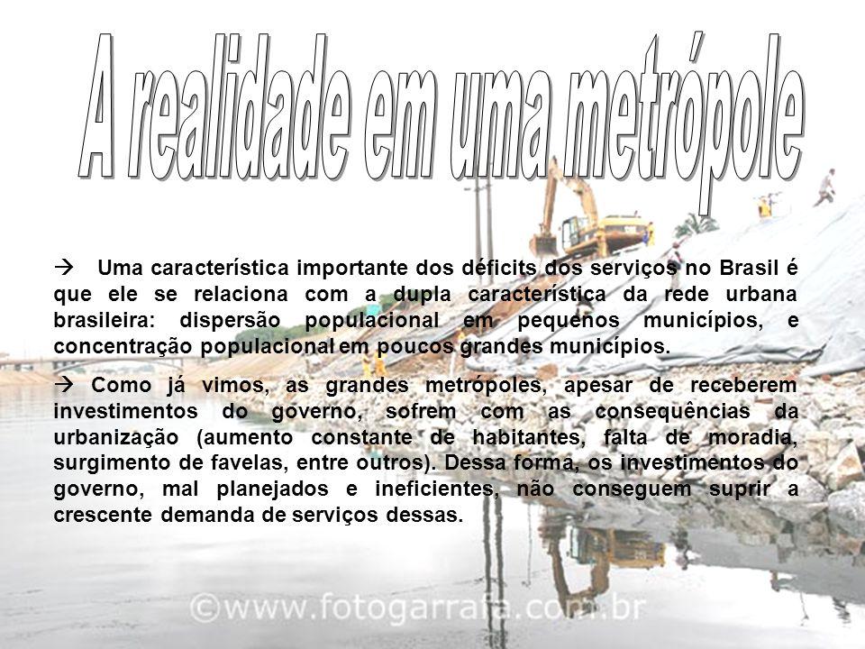  Uma característica importante dos déficits dos serviços no Brasil é que ele se relaciona com a dupla característica da rede urbana brasileira: dispe